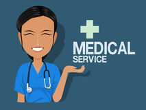Medical staff show medical service stock illustration