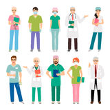 Medical staff standing people. Isolated on white background. Health practitioner doctor and healthcare nurse vector illustration Royalty Free Stock Photography