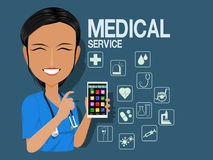 Medical staff use the medical application Royalty Free Stock Images