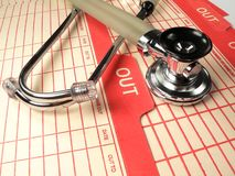Medical Stethoscope. A modern medical stethoscope used in the healthcare industry on a patient's files Stock Images