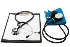 Medical Stethoscope And Blood Monitor. Stock Photo