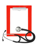 Medical stethoscope with clipboard isolated on white Stock Photos
