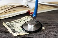 Medical stethoscope on dollar bills. Extra close up Stock Image