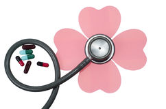 Medical stethoscope flower or phonendoscope isolated on white. Stock Image