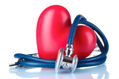Medical stethoscope and heart Royalty Free Stock Photo