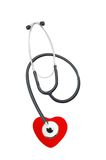 Medical stethoscope and heart Stock Image