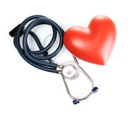 Medical stethoscope and heart isolated on white Royalty Free Stock Image