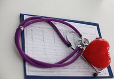 Medical stethoscope and heart isolated on white Royalty Free Stock Images
