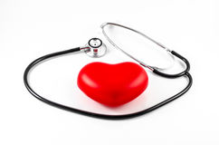 Medical stethoscope and heart Stock Images