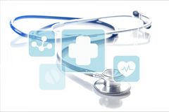 Medical stethoscope with icons on light background. Medical stethoscope icons white background copy space Stock Photos