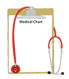 Medical stethoscope with an illness card. Royalty Free Stock Image