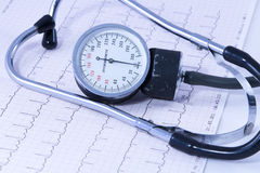 Medical stethoscope lying on ECG diagram Royalty Free Stock Photos