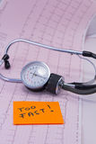 Medical stethoscope lying on ECG diagram with TOO Royalty Free Stock Images