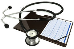 Medical stethoscope lying on a tablet for papers. Form to fill on the tablet Royalty Free Stock Image