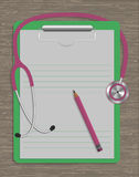 Medical stethoscope, note pad and pencil on wood texture. Vector Stock Photo