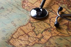 Medical stethoscope over Africa healthcheck. close-up map. Medical stethoscope over Africa healthcheck. Fever vaccination concept tourism travel care diseases stock photos