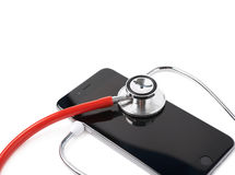 Medical stethoscope over the phone Royalty Free Stock Image