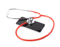 Medical stethoscope over the phone Stock Images