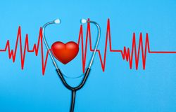 Medical stethoscope and red heart with cardiogram. Health Concepts Royalty Free Stock Image