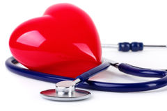 Medical stethoscope and  red heart Royalty Free Stock Image
