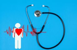 Medical stethoscope and red heart. Health Insurance Concepts Stock Photo