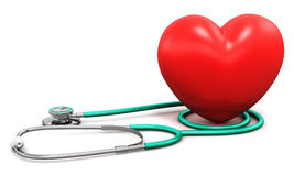 Medical stethoscope and red heart shape Royalty Free Stock Photo