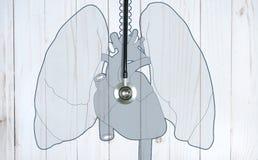 Medical stethoscope on white desk. Medicine concept royalty free illustration