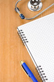 Medical Stethoscope With Notebook Royalty Free Stock Images