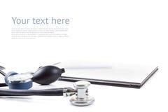 Medical stetoscope and tonometer isolated on white