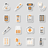 Medical sticker icons set Stock Photography
