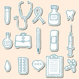 Medical sticker icons Royalty Free Stock Image