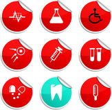 Medical stickers. Medical set of round glossy stickers stock illustration