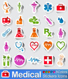 Medical stickers icons. Medical stickers icon in five colours Royalty Free Stock Photo