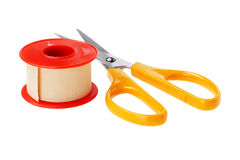 Free Medical Sticking Plaster And Cutting Scissors Stock Photos - 24371603