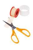 Medical Sticking Plaster and cutting scissors stock photos