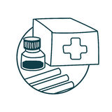 Medical still life icon. First aid kit. Drugs Icon on medical subjects. Illustration of a funny cartoon style Royalty Free Stock Photos