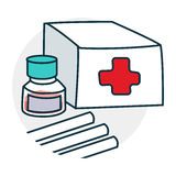 Medical still life icon. First aid kit. Drugs Icon on medical subjects. Illustration of a funny cartoon style Stock Image