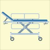 Medical stretcher bed on wheels. Transportation in the hospital Stock Images