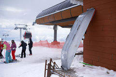 Medical stretcher for rescue injured skiers in mountains ski resort. Stock Photos