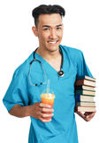 Medical student with books Royalty Free Stock Image