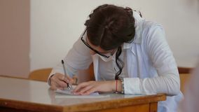 Medical student during classes stock video footage