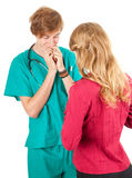 Medical student  examining young woman Stock Photography