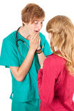 Medical student  examining young woman Stock Photo