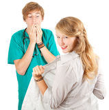 Medical student  examining young woman Royalty Free Stock Image