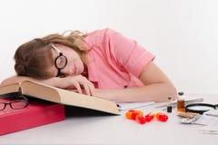 Medical student fell asleep in class Stock Photos