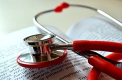 Medical student life : learning and using stethoscope stock photo