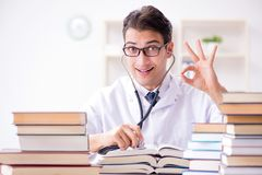 The medical student preparing for university exams. Medical student preparing for university exams stock photos