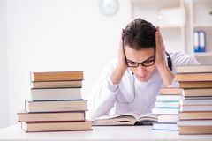The medical student preparing for university exams. Medical student preparing for university exams Royalty Free Stock Images