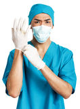 Medical student in rubber gloves Royalty Free Stock Photography