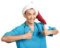 Medical student in Santa hat Stock Image